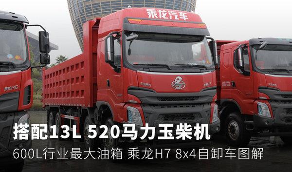 搭载13L520马力玉柴机乘龙H7自卸图解