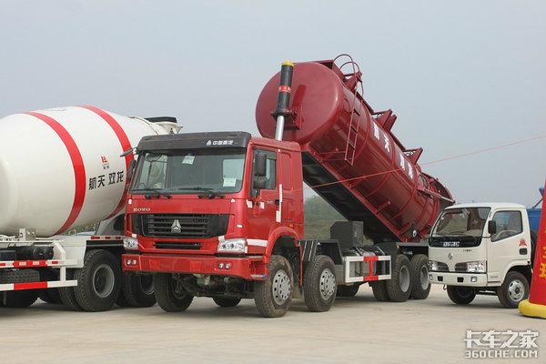 看看中集粉尘物料运输车运水泥有啥优势