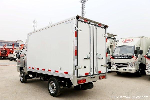 此次优惠促销的车型为时代驭菱vq1 3.03米单排厢式   微卡   (售货车),该车搭载柳州五菱发动机,最大功率60马力,匹配5挡   变速箱   .