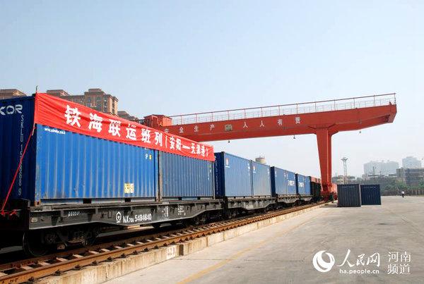 """河南开辟""""铁港联运""""新通道每月5货运班列安阳直达天津港"""