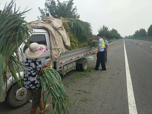 商丘:货车爆胎两吨蔬菜倾翻高速交警变身搬运工