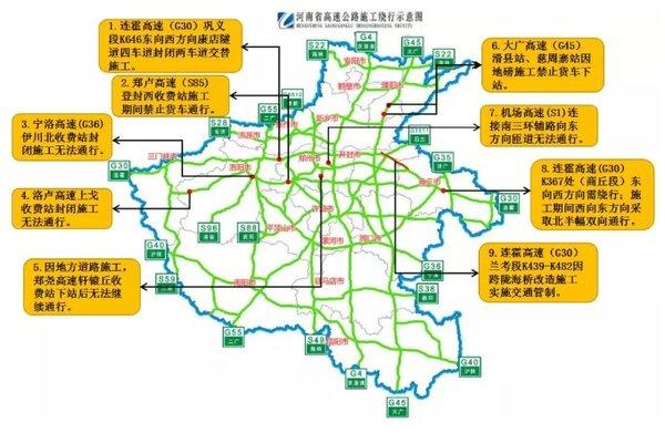 河南省高速公路8-10月施工路段汇总