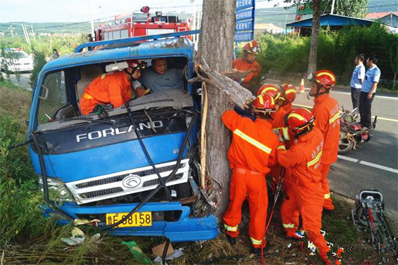 心塞!货车为躲摩托车撞上路边大树所幸无伤亡