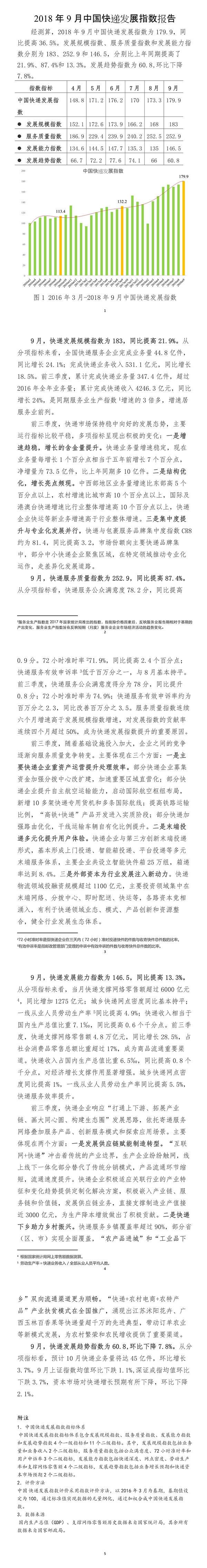 国家邮政局:9月中国快递发展指数出炉
