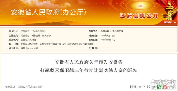 安徽:明年7月1日起实施国六排放标准