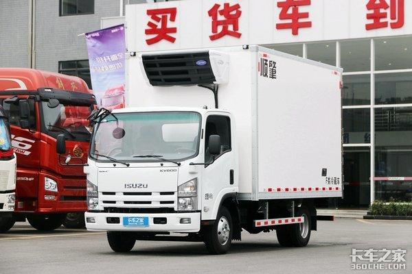 宽体气刹可装尾板庆铃KV600冷藏车图解
