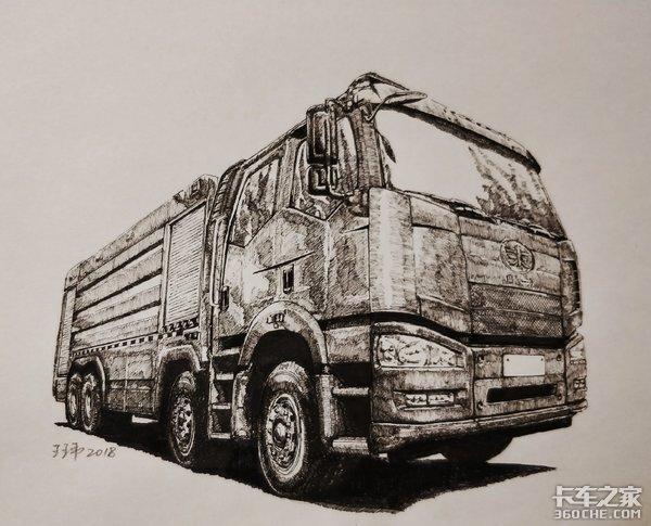 一看就是真爱,来感受一下纯手绘消防车
