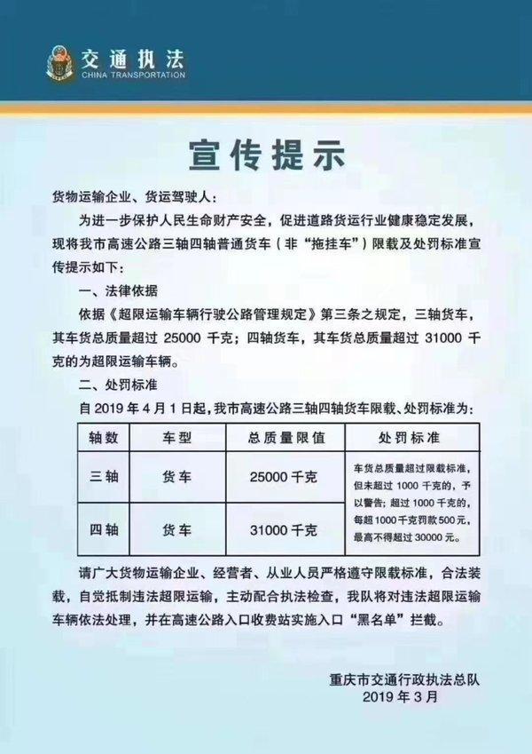 卡车晚报:重庆四轴限载31吨最高处罚30000元;安徽挂、货车船税降80%