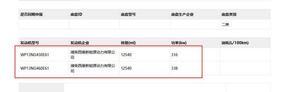 天然气版JH6自卸上公告搭载潍柴WP13NG