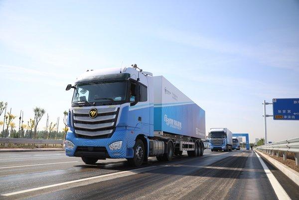 欧曼超级重卡跟驰标准验证顺利完成自动驾驶列队