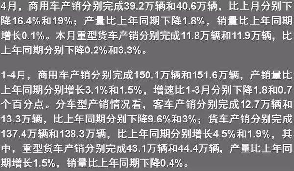 4月商用车产销数据发布:环比两位数下滑
