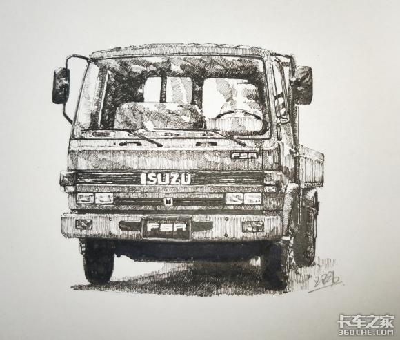 卡友手绘的五十铃卡车,实在太逼真了!