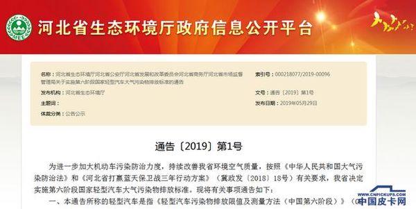 河北:7月1日起实施'国六'排放过渡期仅30天