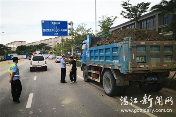 湛江交警整治泥头车,并约谈工程施工方