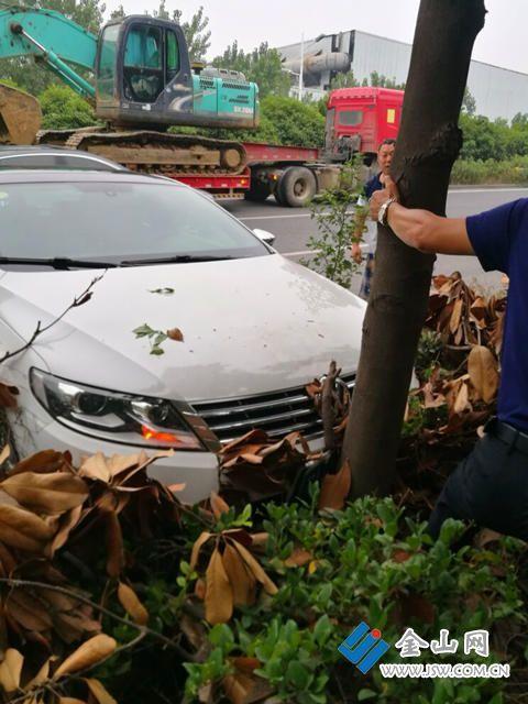 危险!货车变道太随意轿车避让撞上树