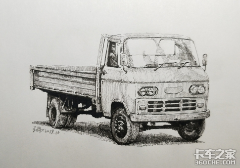 卡友手绘国产卡车经典车型,给大牛跪了
