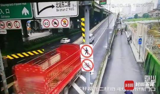 货车撞坏限高架驶进高架 驾驶员被拘留