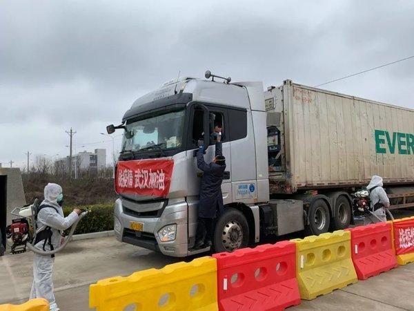 进鄂应急物资源源不断在这里中转武汉加油中国加油!