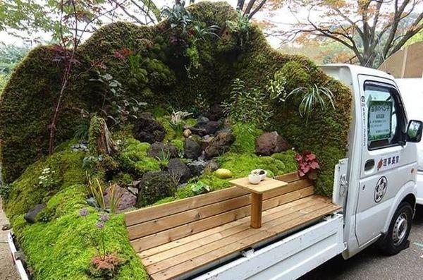 卡车上的迷你花园日本的卡车园艺大赛