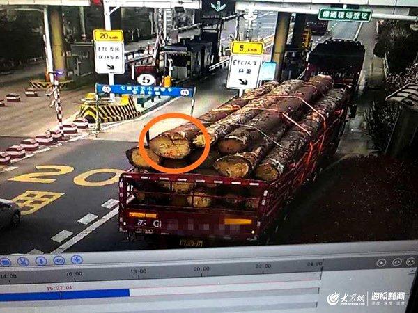 """货车超载竟逃离现场偷扔木材后被监控""""识破"""""""