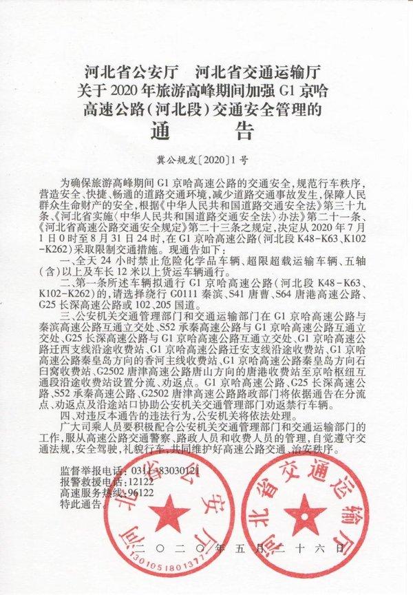 7月1日起京哈高速河北段将限制多种货车通行内附绕行路线