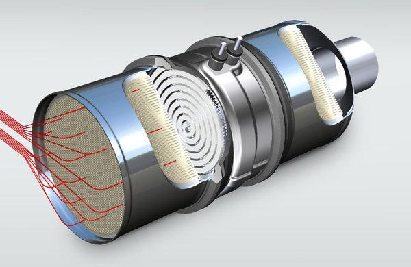 符合欧7标准,能完全去除污染物本特勒展示电加热催化器