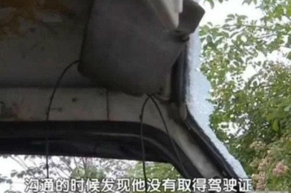 货车年检车头被撞烂交警:检测员没驾照