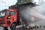 货车冒烟起火 司机错误自救方式使火势蔓延