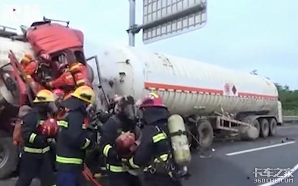 罐车自燃,退伍兵拉水管灭火,为堵泄露消防员累瘫在战友怀中