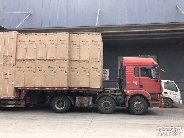 17.5米大板再加长6米,装满货高4.95米,家电运输太狠了
