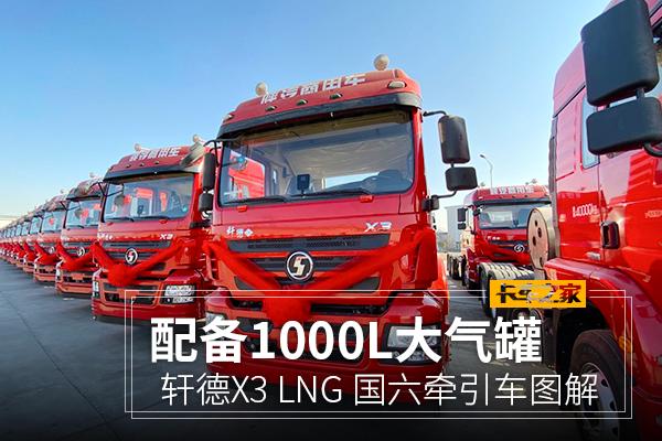 配备1000L大气罐轩德X3460国六LNG牵引车图解
