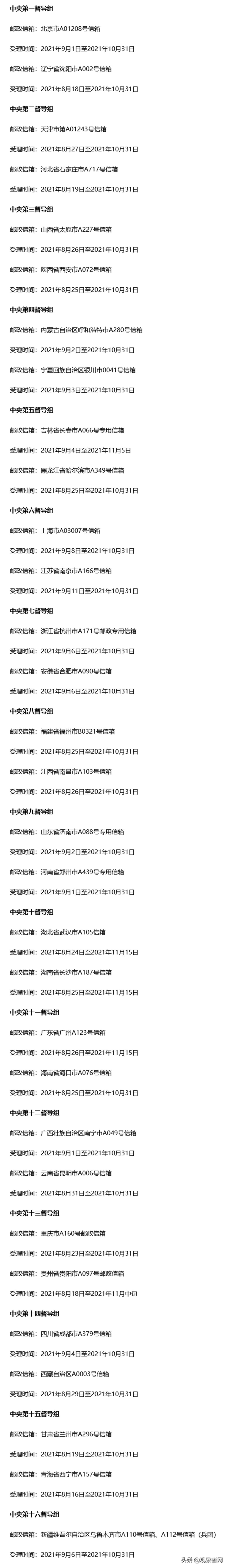 中央督导组31个举报信箱集中公布卡友有线索积极举报